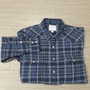 Men's blue/black plaid button down shirt - XL